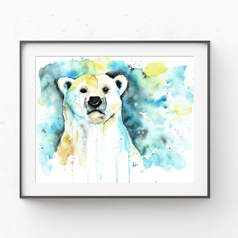 Polar Bear Colorful Watercolor Wildlife Painting