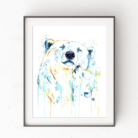 Polar Bear Mom and Baby Colorful Watercolor Painting