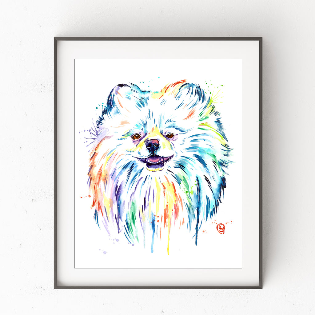 Pomeranian Colorful Watercolor Pet Portrait Painting - Leo the Lion Pom