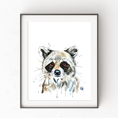 Baby Raccoon Watercolor Painting