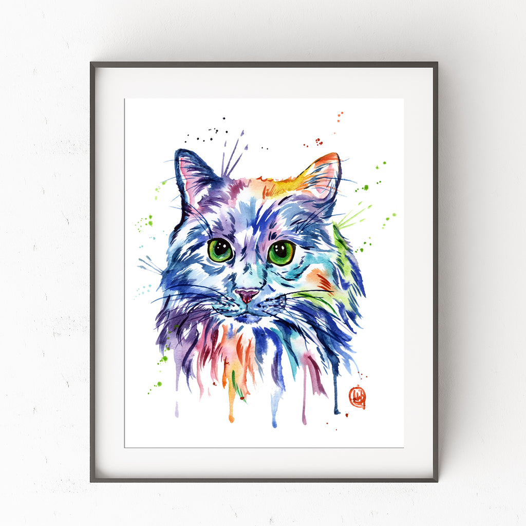 Colorful Cat Pet Portrait