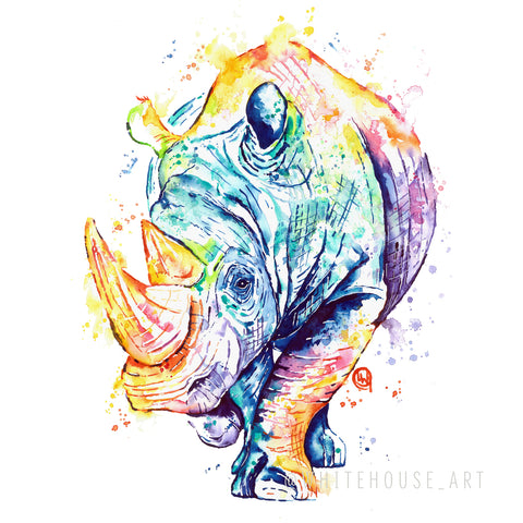 Original Rhino Watercolor Painting - Beauty and strength