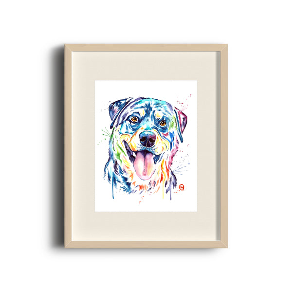 Puppy Watercolor Painting Dog Mom Dog Painting Dog Gifts Pet Portrait Dog Memorial Gift Rottweiler Painting by Whitehouse Art