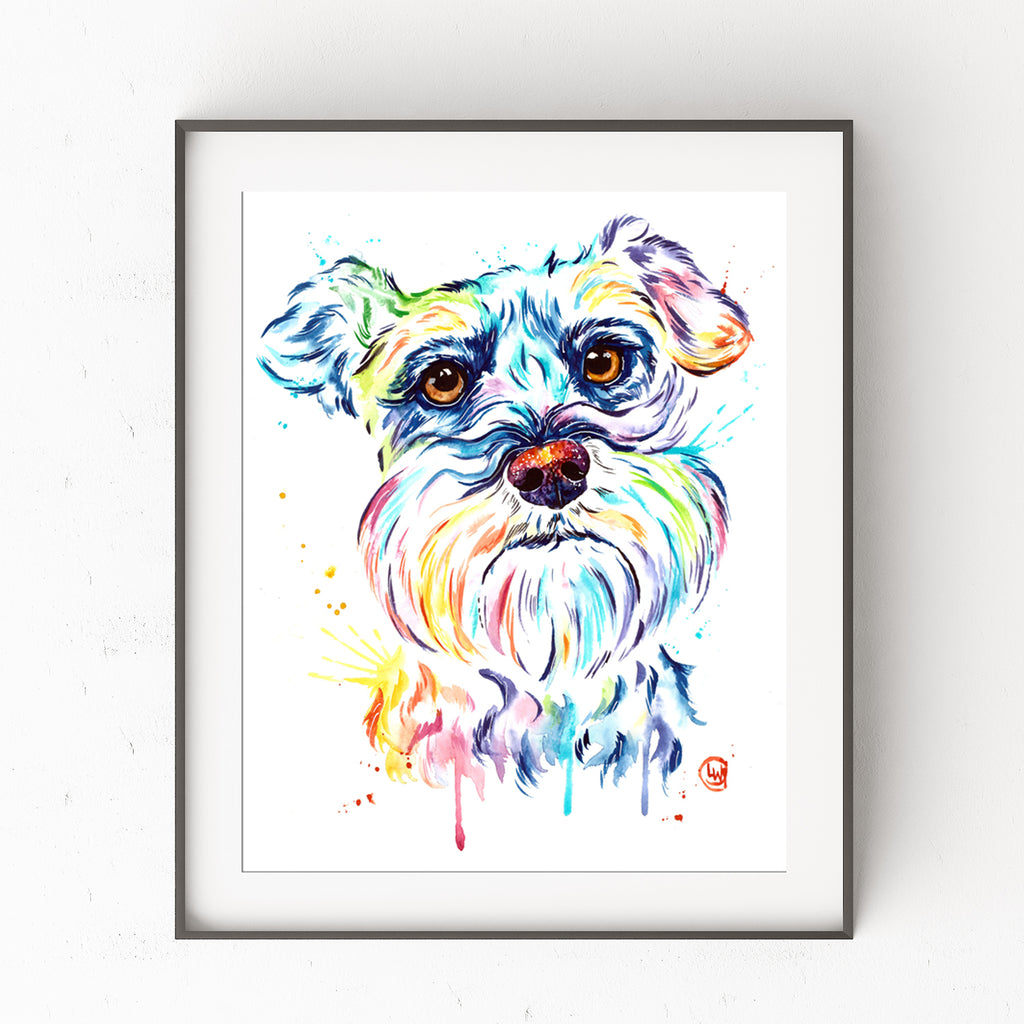 Schnauzer Colorful Pet Portrait Watercolor Painting