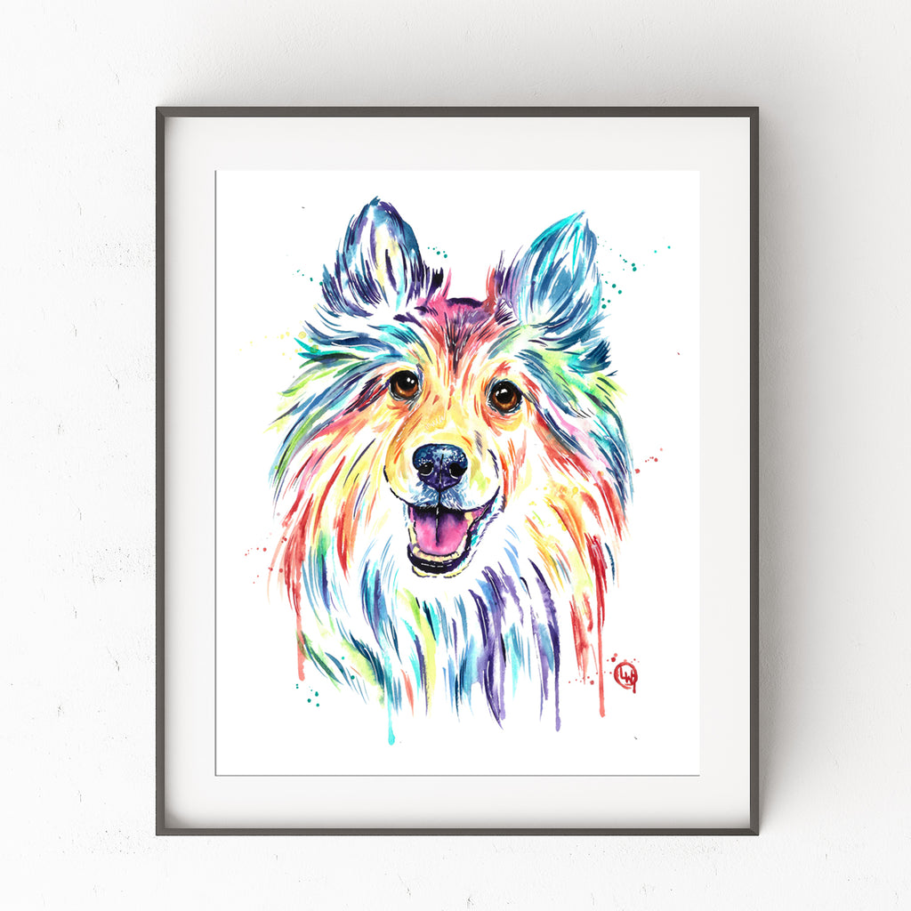 Sheltie Watercolor Dog Painting in a black frame