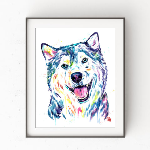 Siberian Husky Watercolor Dog Painting