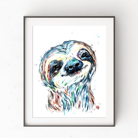 Sloth Baby Watercolor Nursery Art Print