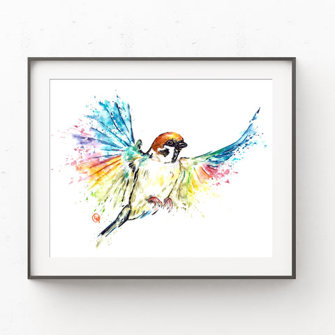 Sparrow - Tiny Sparrow - Colourful watercolour painting