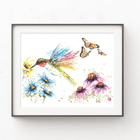 Ruby Throated Hummingbird - Sylvias Garden - Colorful Watercolor Painting