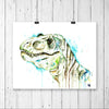 T-rex Dinosaur watercolor painting