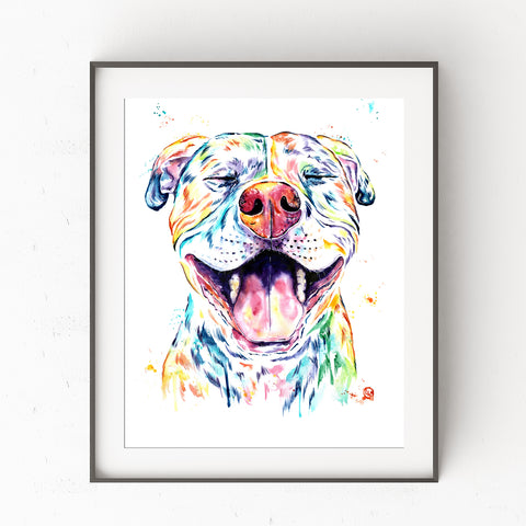 Pit Bull Colorful Pet Portrait Watercolor Painting - Tango