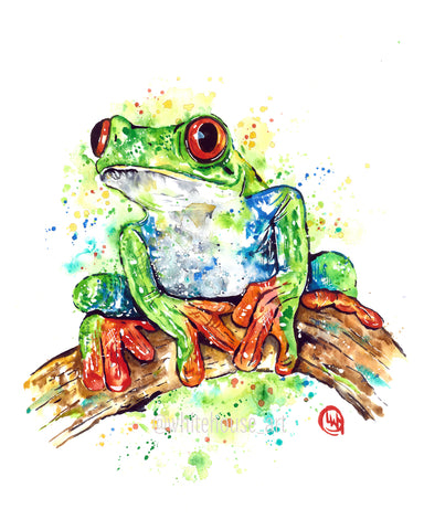 Original Frog Watercolor Painting