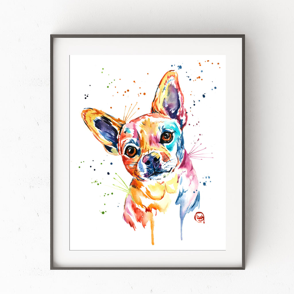 Chihuahua Colorful Watercolor Pet Portrait Painting