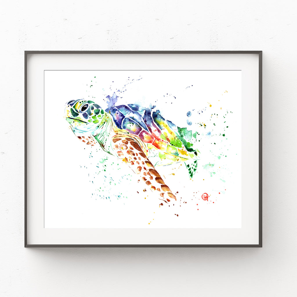 Sea Turtle Colorful Watercolor Painting