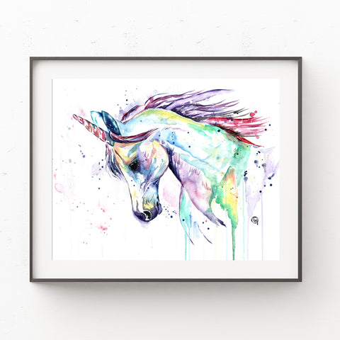 Unicorn Original Colorful Watercolor Painting