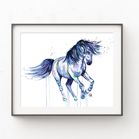 Galloping Unicorn Colorful Watercolor Painting