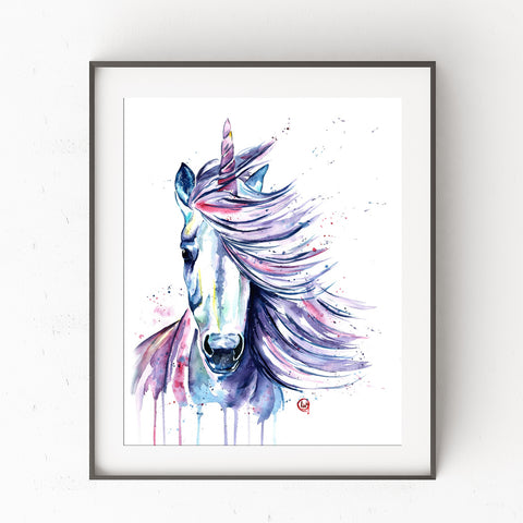 Unicorn with blowing hair Colorful Watercolor Painting
