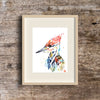 Colourful painting of a woodpecker in a frame