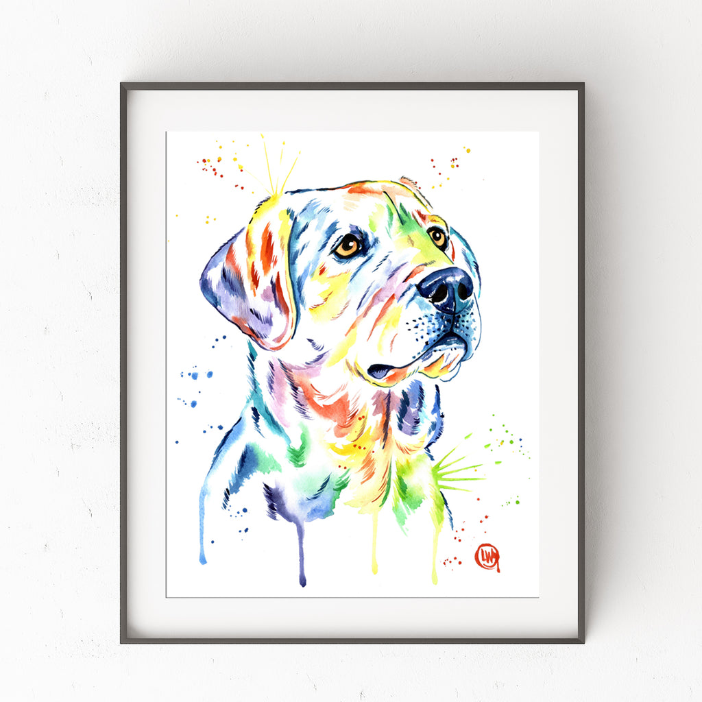 Yellow Lab Colorful Pet Portrait Watercolor Painting