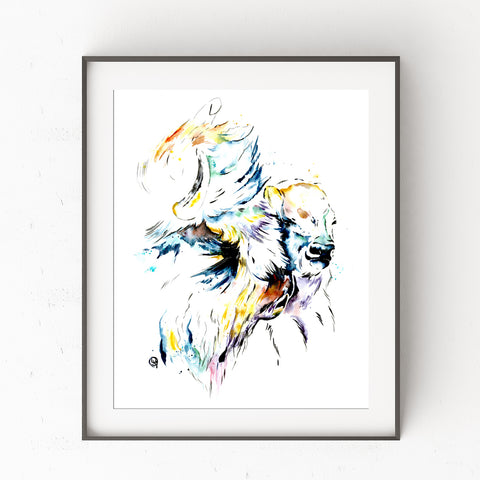 Bison Colorful Watercolor Painting