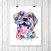 Black Lab Colorful Watercolor Pet Portrait Painting