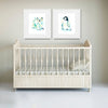 Penguin Baby and Polar Bear Baby colorful watercolor print