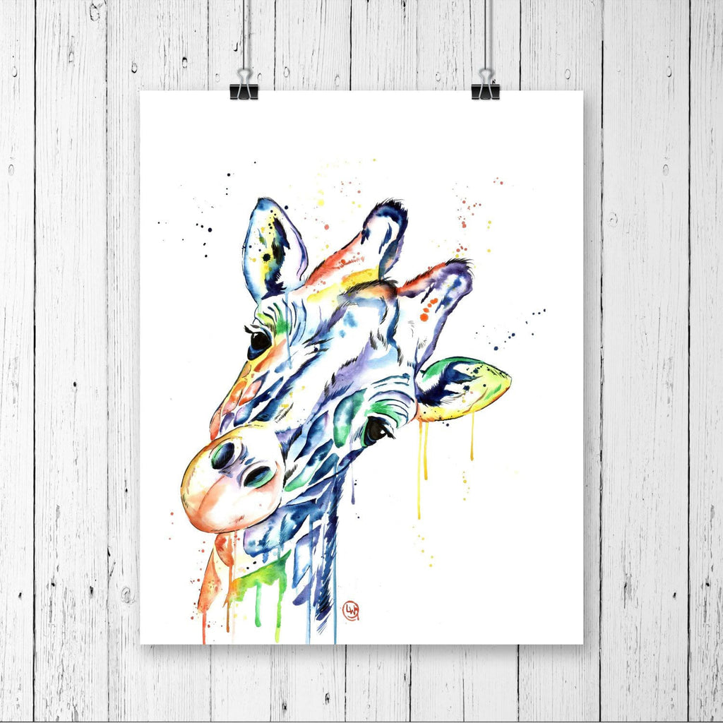 Giraffe Colorful Watercolor Painting