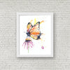 Monarch Butterfly Colorful Watercolor Painting