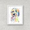 Goldendoodle Colorful Pet Portait Watercolor Painting