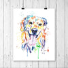 Golden Retriever Colorful Watercolor Pet Portrait Painting