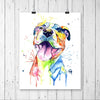 Pit Bull Colorful Pet Portrait Watercolor Painting