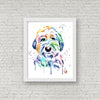 Old English Sheepdog Colorful Pet Portrait Watercolor Painting