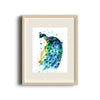 Peacock Colorful Watercolor Painting in a brown frame