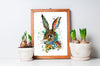 Bunny Rabbit Colorful Watercolor Painting