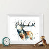 Elk Colorful Watercolor Painting