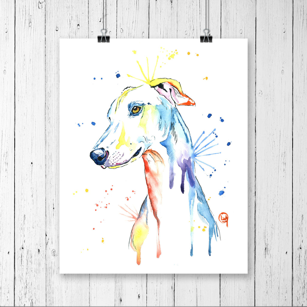 Greyhound Colorful Pet Portrait Watercolor Painting