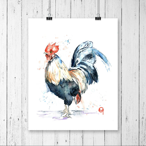 Rooster Watercolour Painting
