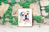 Bulldog Colorful Watercolor Pet Portrait Painting