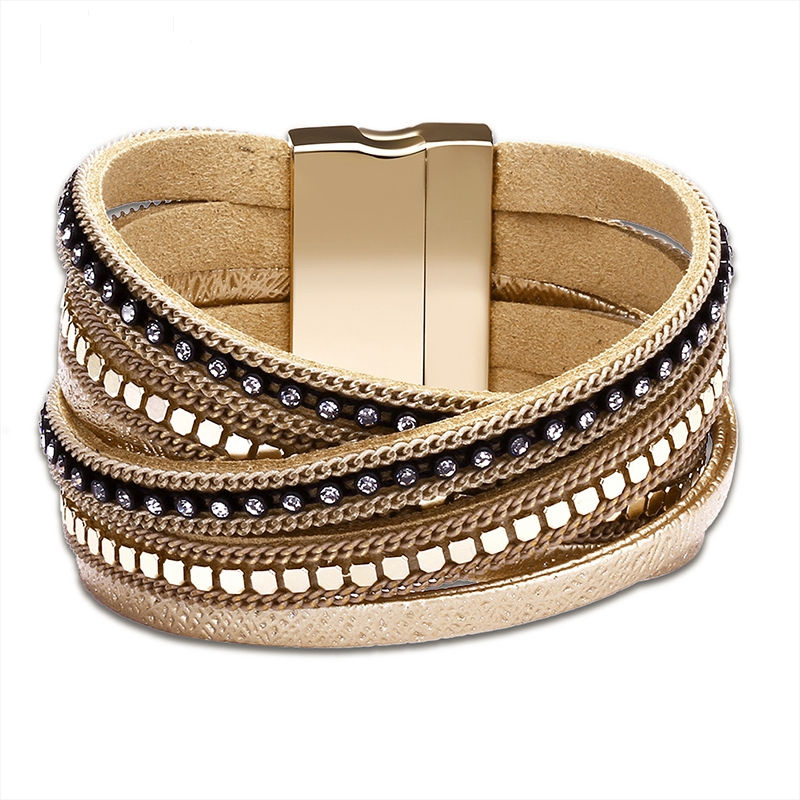 Multi-Layer Leather Bracelet With Magnetic Buckle