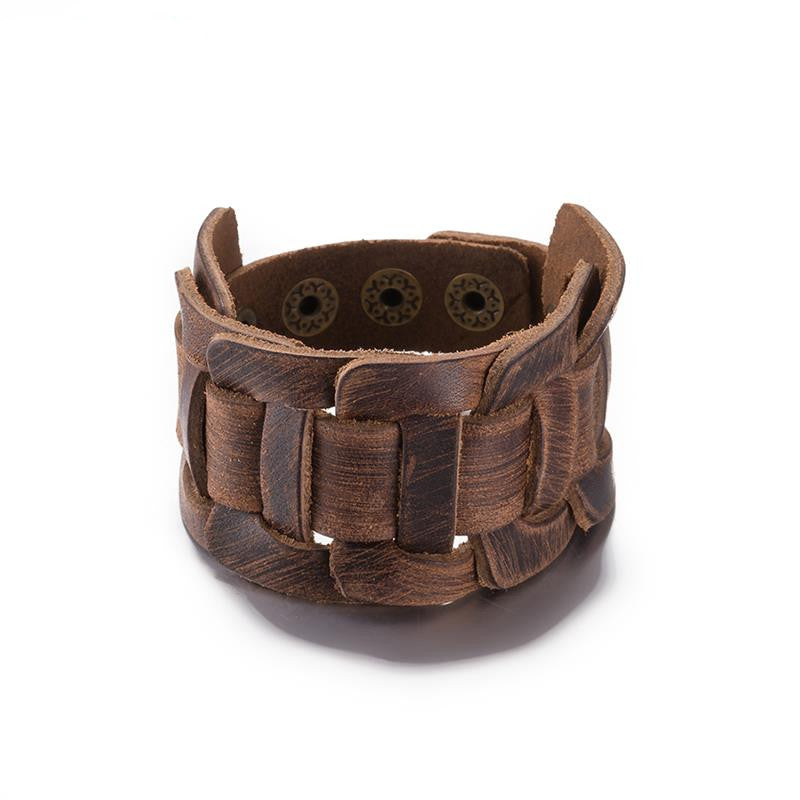 Unisex Double Wide Brown Leather Bracelet