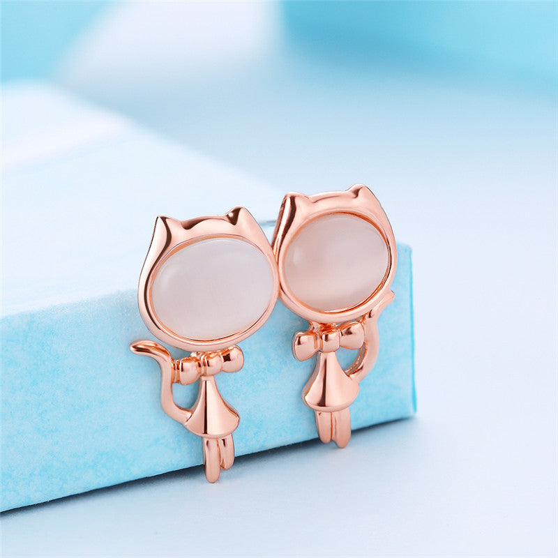 Opal Stone Stud Earrings Cat Shape