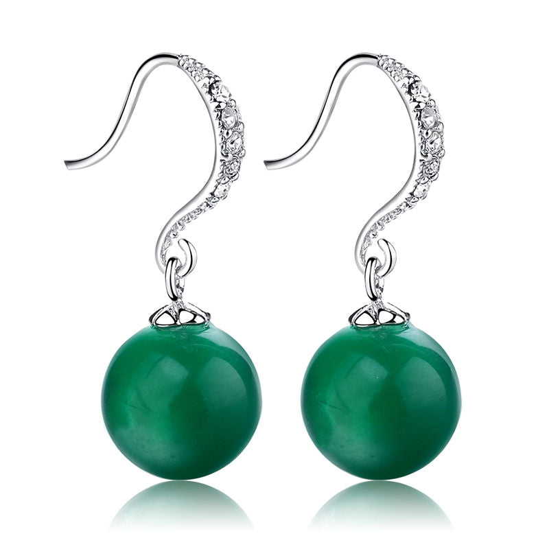 Green Drop Earrings With Natural Stone