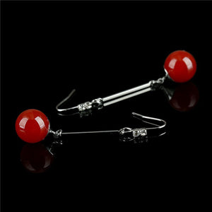 Long Red Earrings With Natural Stone