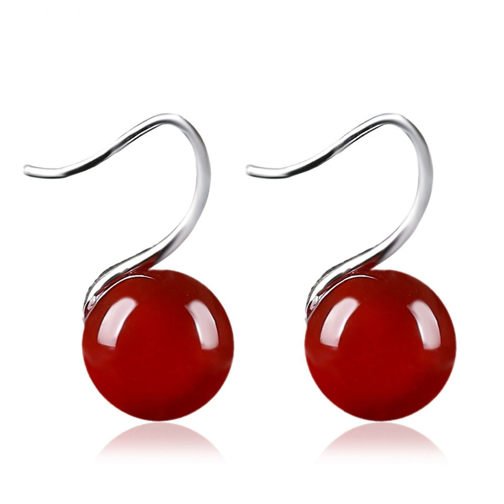 Red Drop Earrings With Natural Stone