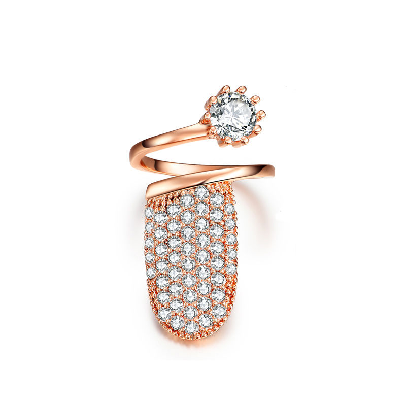 Resizable Crystal Nail Ring Rose Gold or Silver Color