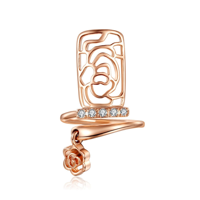 Resizable Crystal Nail Ring Rose Gold or Silver Plated