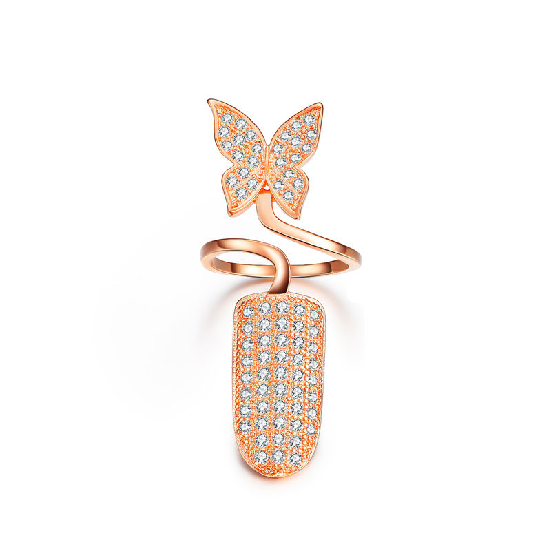 Butterfly Crystal Nail Ring Rose Gold or Silver Color