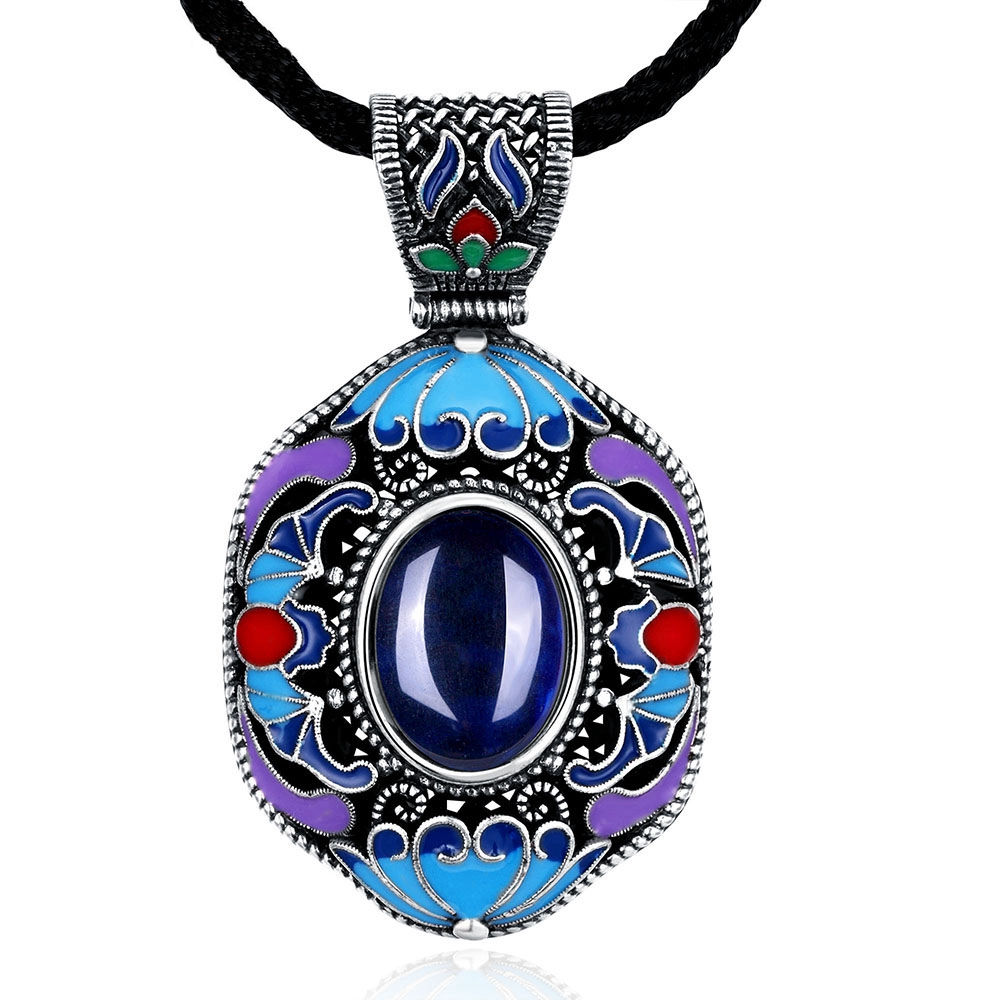 Vintage Ethnic Necklace With Blue Natural Stone
