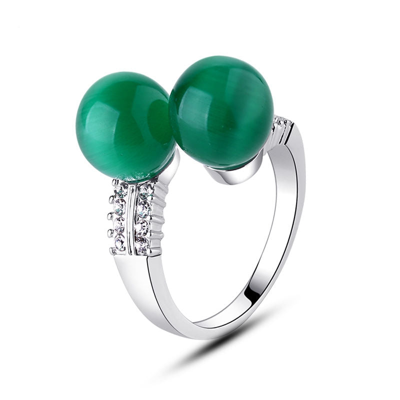 Green Natural Stone Ring Double Round Ball