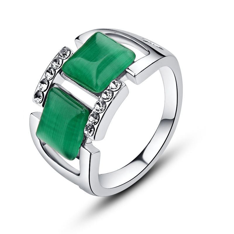 Green Natural Stone Ring Double Square